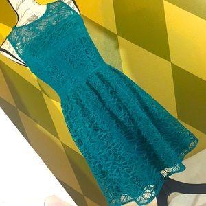 Emerald Fit & Flare Lace Sleeveless Mini Dress  8